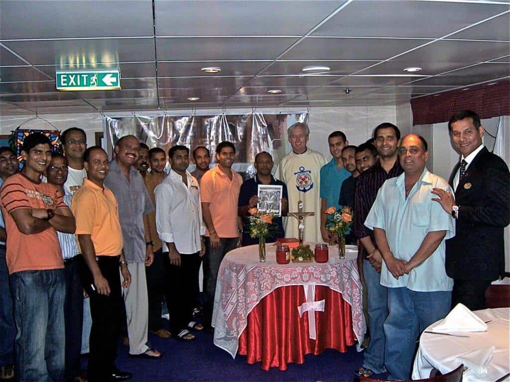 Having a priest on board means that Catholic crew members can attend Mass...something they do not often get to do since they are at sea for months at time in some cases