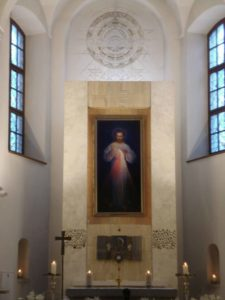 The original painting of Divine Mercy, here in the Shrine of Divine Mercy in Vilnius, Lithuania