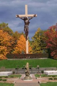 The outdoor Crucifix at the Shrine of the Cross in the Woods in Indian River, Michigan