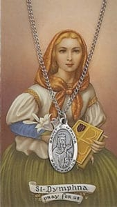 Pewter Saint Dymphna medal and prayer card