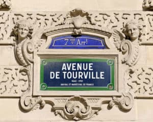 Typical street sign in Paris showing the Arrondisement