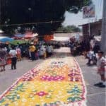 Streets in Ocotlan lined with flowers