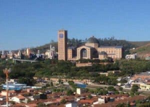 The immense Basilica of Our Lady of Aparecida towers over the countryside