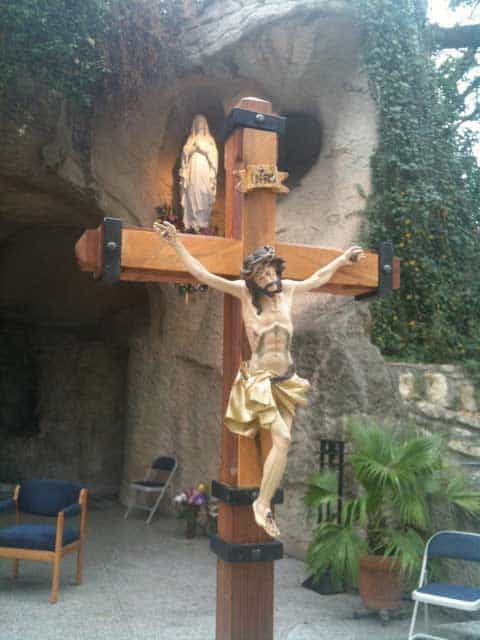 The crucifix at the Lourdes grotto (Oblate Grotto) in San Antonio