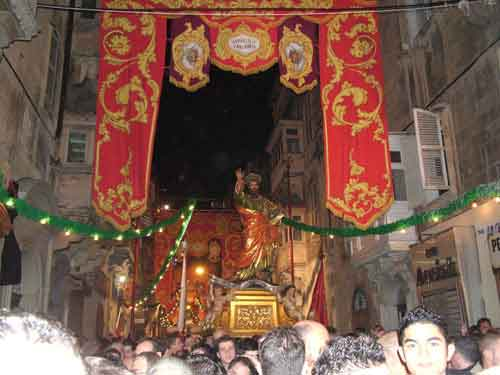 On the Feast Day of St. paul , the statue is processed through town in Malta