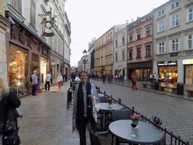 Sue outside the restaurant in Krakow Old Town