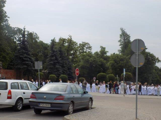 Busloads of children showing up for First Holy Communion in Swieta Gora