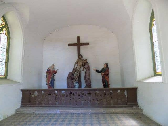 Interior of the station chapel where Jesus is taken down from the Cross