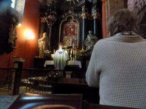 Mass in one of the side chapels