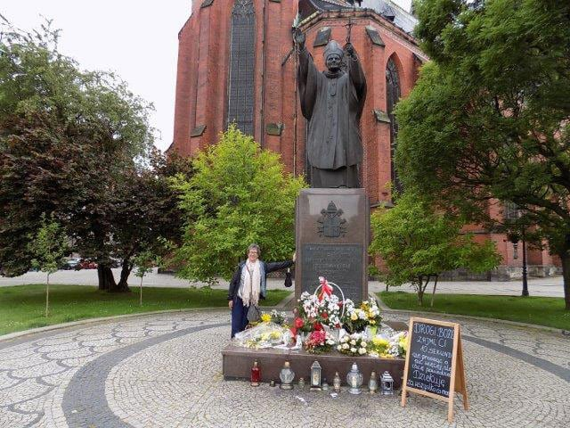 Outside the Church of St Jack in Legnica