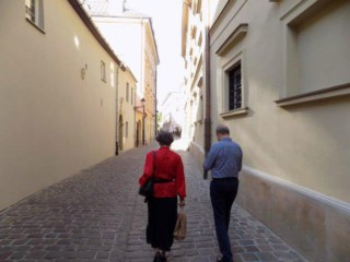 Fr. Paul & Sue strolling over to Cardinal Dziwusz' apartment