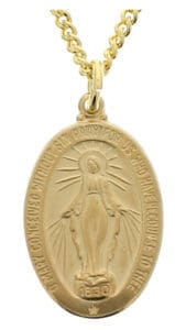 "Get this beautiful Sterling Silver/Gold Miraculous Medal on 20"" Chain"