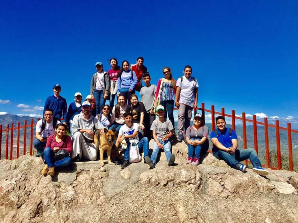 Pilgrims at the top of the Mountain of Peace