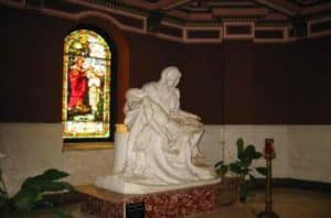 "Life size replica of Michelangelo's ""Pieta"" in Our Lady of Sorrows basilica in Chicago, Illinois"