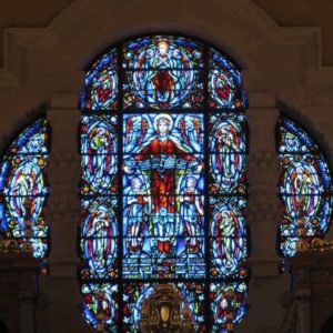 The magnificent stained glass window of Saint Cecila in St. Cecials Basilica in Omaha, Nebraska