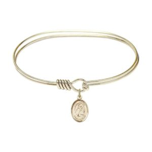 "Adult 7"" Oval Gold Plated Bangle Bracelet with St. Isidore of Seville Medal Charm"