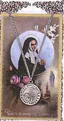 Saint Bernadette prayer card and medal