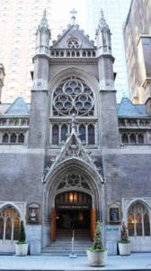 """Exterior view of St. Malachy's Church & """"The Actor's Chapel"""" in New York City"""