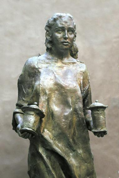 Statue of Mary Magdeline at the Catholic Memorial at Ground Zero in New York
