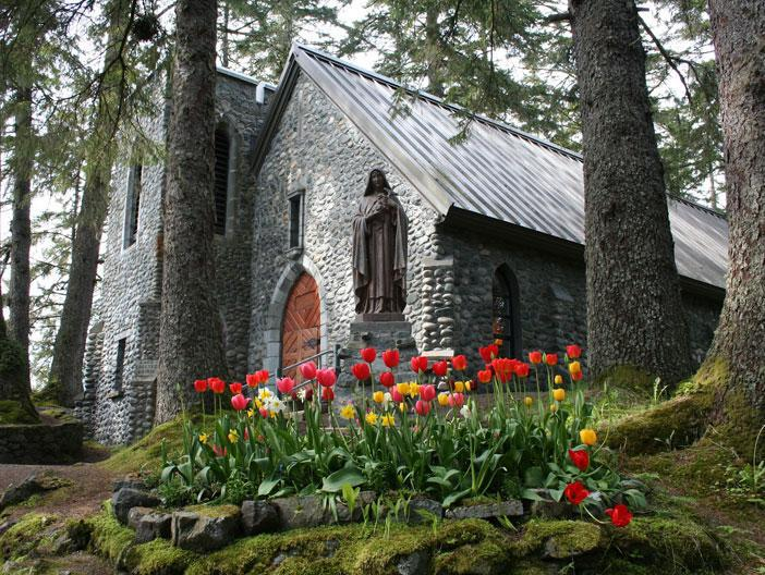 Exterior of the Shrine of Saint Therese in Juneau, Alaska