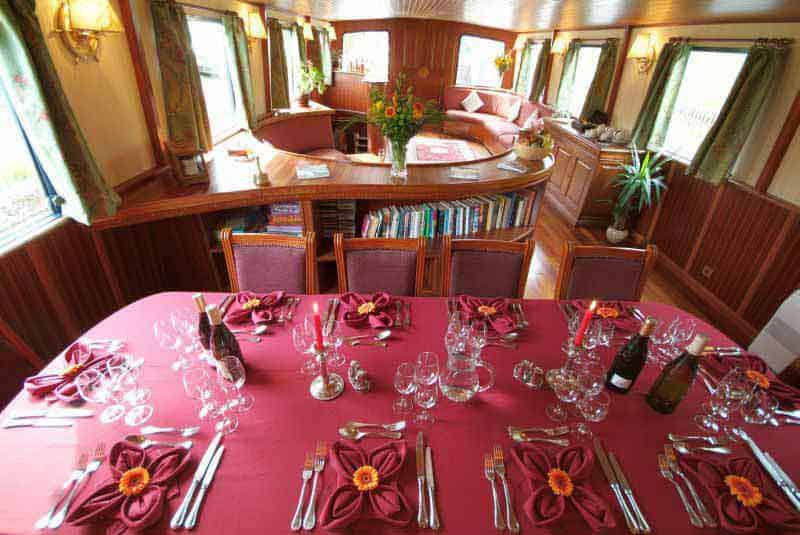 Dining area on the Barge