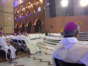 Mass with Pope Francis during his visit in 2014 inside the immense Basilica of Aparecida