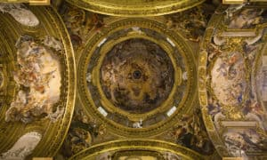 "The ""dome"" of the Gesu Church is an optical illusion..the ceiling is flat"
