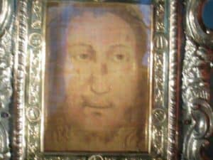 Closeup of the Holy Face in the church in Manoppello, Italy