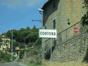 The town of Cortona is one of the quaint Tuscan Hill country towns