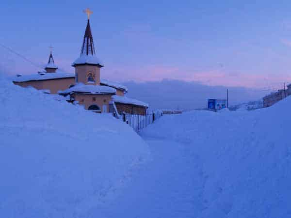 Magadan Russian Federation View of the church in Winter