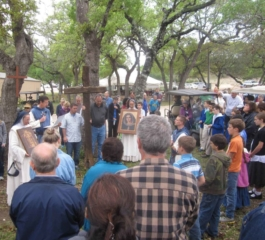 Gathered at the Cross at Divine Mercy Center in New Braunfels