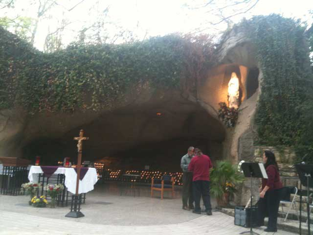 Setting up for Mass at the Lourdes Grotto (Oblate Grotto) in San Antonio, Texas