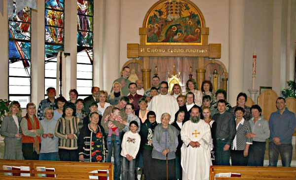 Some of the Parishioners at the Church of the Nativity in Madagan