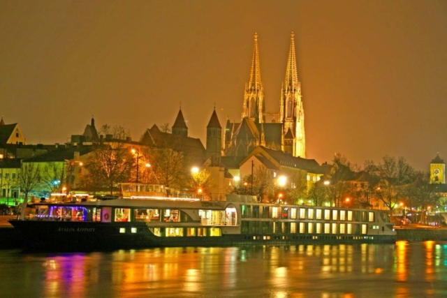 The ship docked in Regensburg for the famous Christmas market