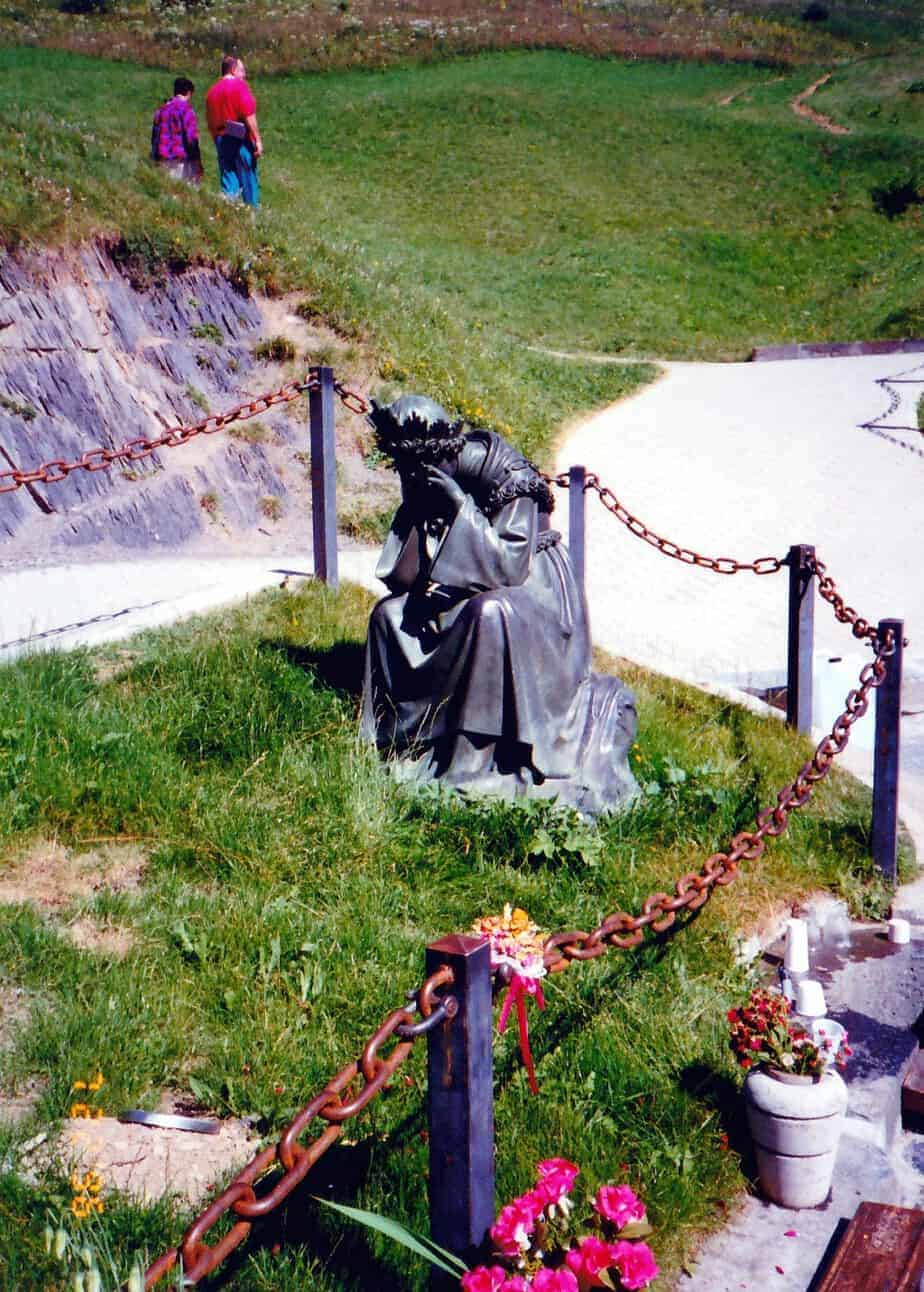 statue of Our Lady weeping at the shrine of La Salette France