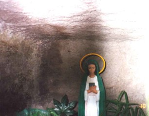 A statue in the cave where the Blessed Virgin Mary appeared to Bruno Cornacchiola