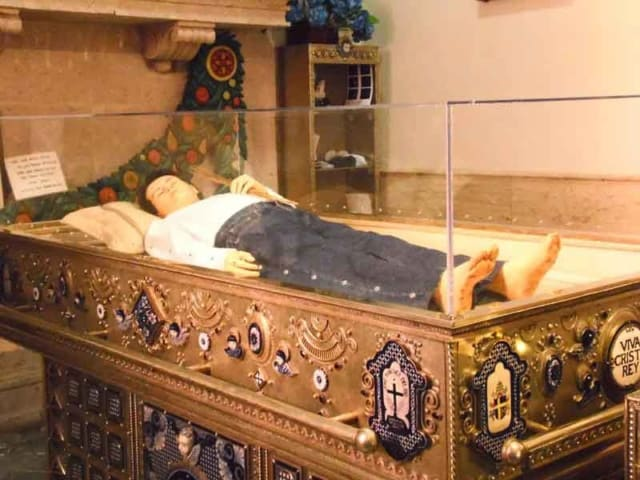 Wax replica of Saint Jose Sanchez del Rio (his body is not incorrupt)