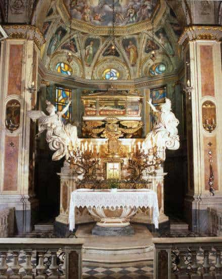 the altar, with the body of St. Catherine of Genoa placed up above