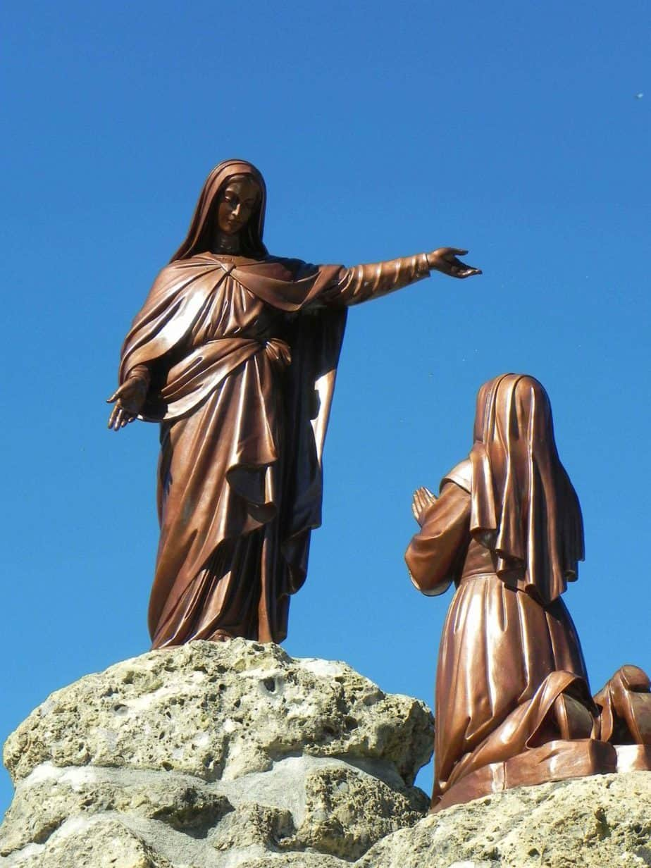 The statues here at Laus tell the story of the apparitions and are very similar to those at the Shrine of La Salette