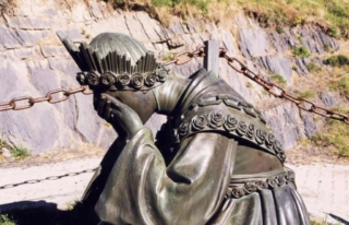 Statue of Our Lady crying at Sanctuary of La Salette, France