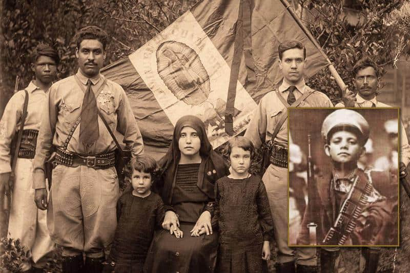 Photo of some of the Cristeros, with photo of Saint Jose Sanchez del Rio super-imposed