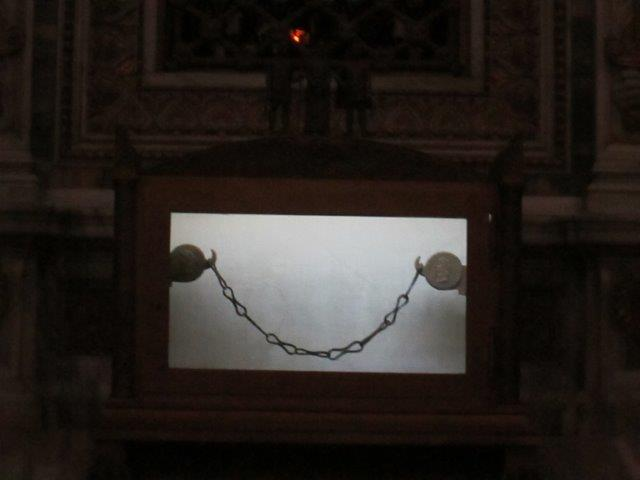 The chains used to bind Saint Paul when he was in prison are on display here in the Basilica of Saint Paul's Outside the Walls