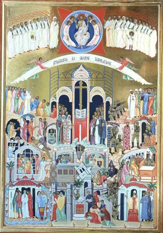 One of the icons of the martyrs in the Basilica of Saint Bartholomew