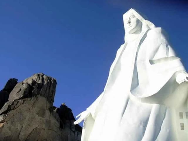 Closeup of the statue of  Our Lady of the Rockies in Butte, Montana