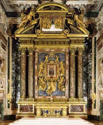 Altar with the icon of Salus-Populi-Romani in the Basilica of Saint Mary Major