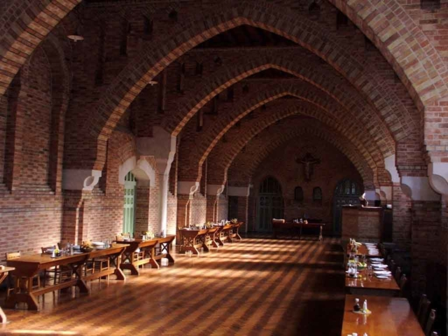 The refectory at Quarr Abbey where meals are taken