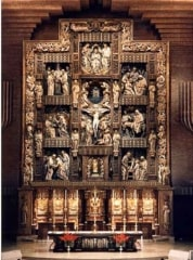 The alabaster altar piece in the Shrine of Our Lady of Torreciudad