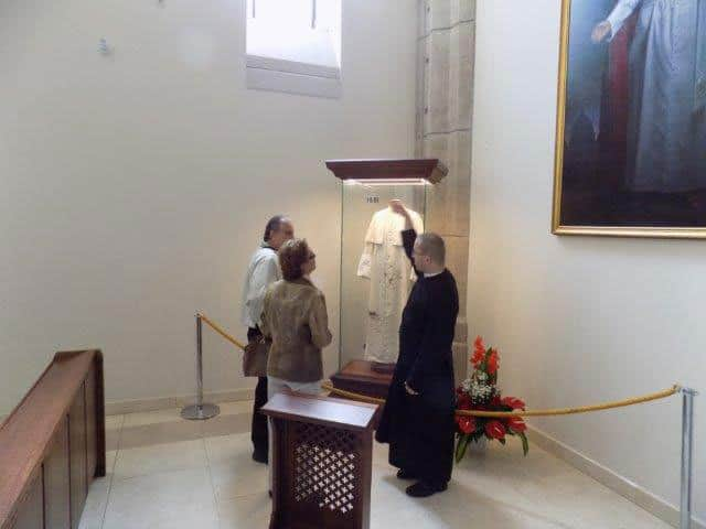 The blood-stained cassock on display