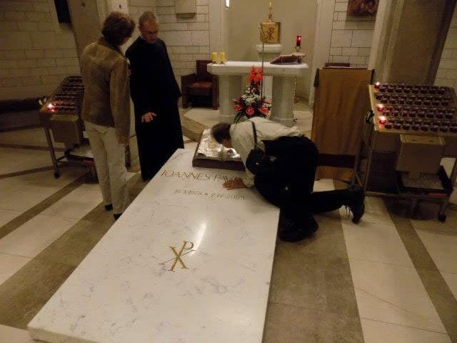 The marble slab that covered thetomb of Pope John Paul II in Saint Peter's before he was proclaimed a Saint