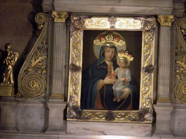 Close up view of the image of Our Lady of Social Justice and Peace